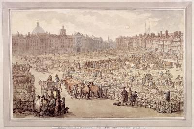 View of Smithfield Market, London, 1810-Thomas Rowlandson-Giclee Print