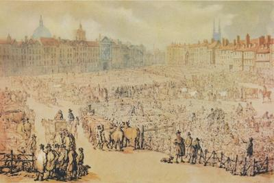 View of Smithfield Market, London, 1810-Unknown-Framed Giclee Print