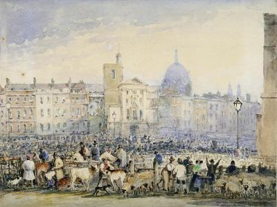 View of Smithfield Market with Figures and Animals, City of London, 1824-George Sidney Shepherd-Giclee Print