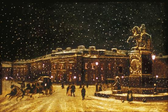 View of Snow Falling at Charing Cross at Night, C1851--Giclee Print