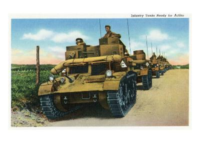 View of Soldiers in a Row of Infantry Tanks-Lantern Press-Art Print