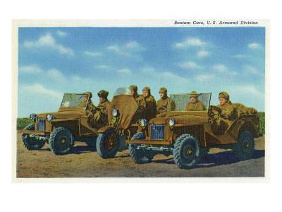 View of Soldiers in Bantam Cars in the US Armored Division-Lantern Press-Art Print