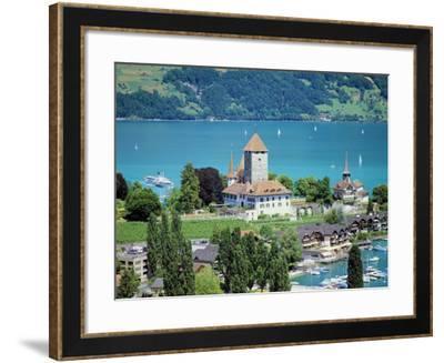 View of Spiez Over Lake Thun, Swiss Lakes, Switzerland-Simon Harris-Framed Photographic Print