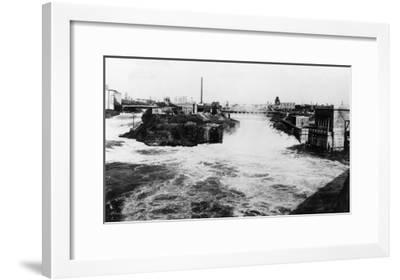 View of Spokane Falls - Spokane, WA-Lantern Press-Framed Art Print