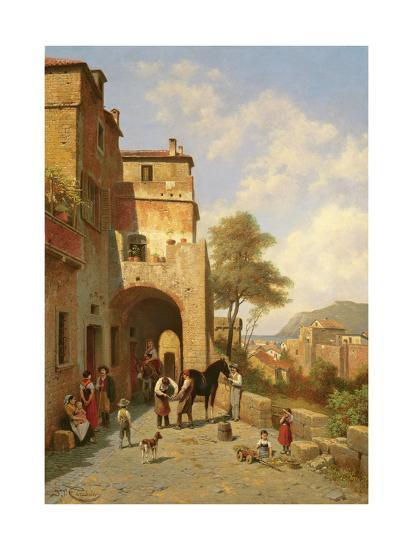 View of Spottorno on the Mediterranean Coast, 19th Century-Jacques Carabain-Giclee Print