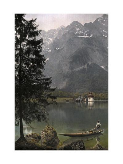 View of St. Bartholoma, a Lodge and Chapel, on the Konigssee Lake-Hans Hildenbrand-Photographic Print