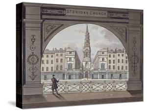 View of St Bride's Church, Fleet Street, Through an Archway, City of London, 1820