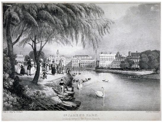 View of St James's Park and Buckingham Palace, Westminster, London, C1830-Thomas Mann Baynes-Giclee Print
