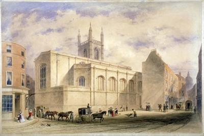 View of St Mary Aldermary with a Street Scene in Watling Street, City of London, C1850