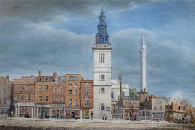 View of St. Michael Church, Crooked Lane, London, Designed by Christopher Wren, During…-George The Elder Scharf-Giclee Print