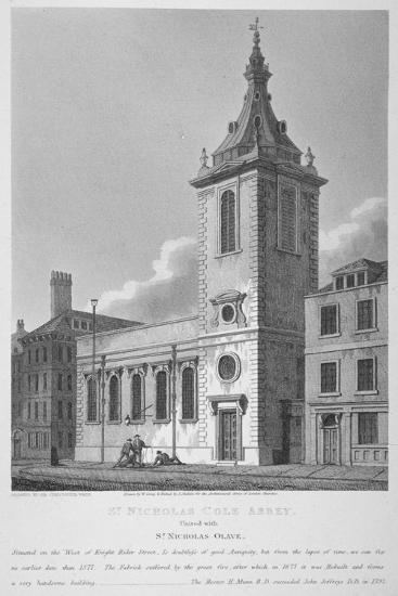 View of St Nicholas Cole Abbey and Knightrider Street, City of London, 1812-Joseph Skelton-Giclee Print