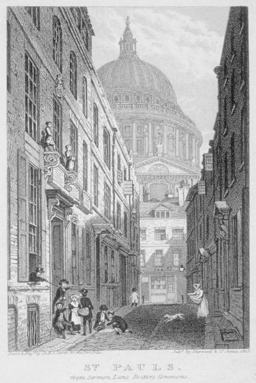 View of St Paul's Cathedral from Sermon Lane, City of London, 1823-James Sargant Storer-Giclee Print