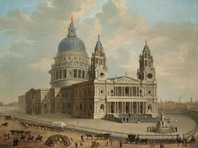 View of St. Paul's Cathedral with Figures in the Foreground, English School circa 1725--Giclee Print