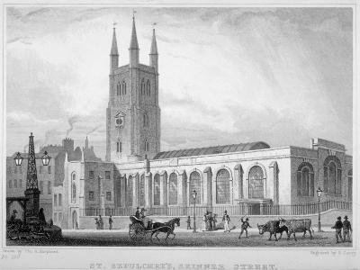 View of St Sepulchre Church, Skinner Street, City of London, 1830-S Lacey-Giclee Print