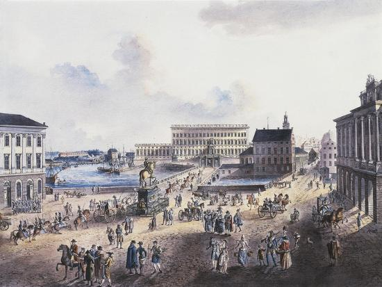 View of Stadsholmen Island, with King Gustavo Adolfo's Statue, Royal Palace and Cathedral--Giclee Print