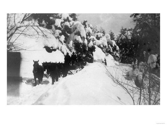View of Stagecoach Driving through Snowy Mitchell Rd - Downieville, CA-Lantern Press-Art Print