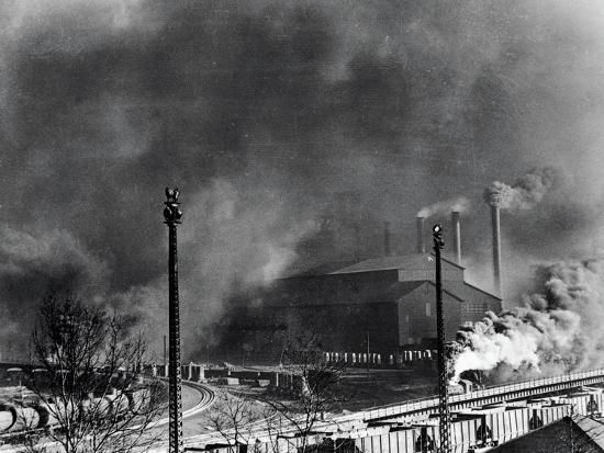 View of Steel Plant with Smoke Fumes--Photographic Print