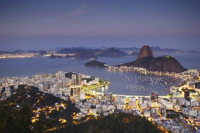 View of Sugar Loaf Mountain (Pao de Acucar) and Botafogo Bay at Dusk, Rio de Janeiro, Brazil-Ian Trower-Photographic Print