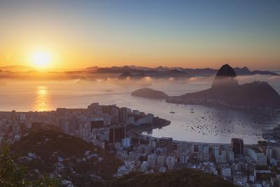 View of Sugarloaf Mountain and Botafogo Bay at Dawn, Rio De Janeiro, Brazil, South America-Ian Trower-Photographic Print