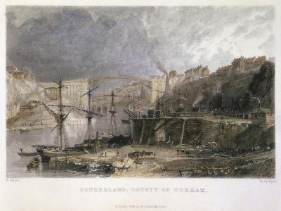 View of Sunderland and the Iron Bridge Looking Eastwards, 1833-Thomas Allom-Giclee Print