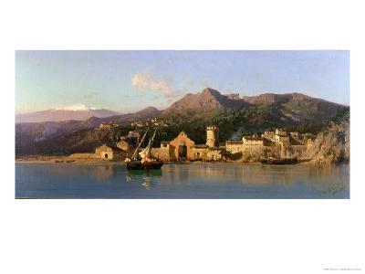 View of Taormina, Sicily, with Mount Etna in the Background, 1868-Alessandro La Volpe-Giclee Print