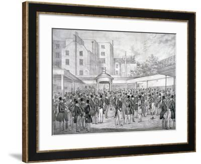 View of Tattersall's Horse Sale Yard at Hyde Park Corner, Westminster, London, C1845--Framed Giclee Print