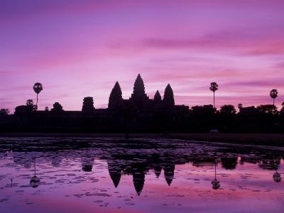 View of Temple at Dawn, Angkor Wat, Siem Reap, Cambodia-Walter Bibikow-Photographic Print