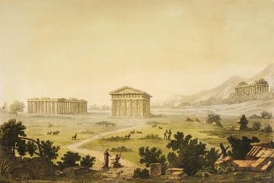 View of Temples in Paestum at Syracuse, Italy-Giulio Ferrario-Giclee Print