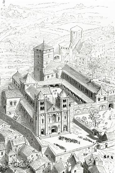 View of the Abbey of Cluny and the Carolingian Cathedral-Eugene Emmanuel Viollet-le-Duc-Giclee Print