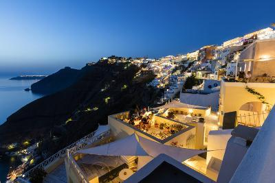 View of the Aegean Sea from the Typical Greek Village of Firostefani at Dusk, Santorini, Cyclades-Roberto Moiola-Photographic Print