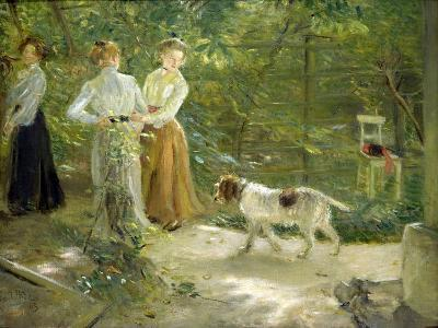 View of the Artist's Garden with His Daughters, 1903-Fritz von Uhde-Giclee Print