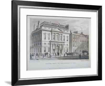 View of the Auction Mart in Bartholomew Lane, City of London, 1829-W Watkins-Framed Giclee Print