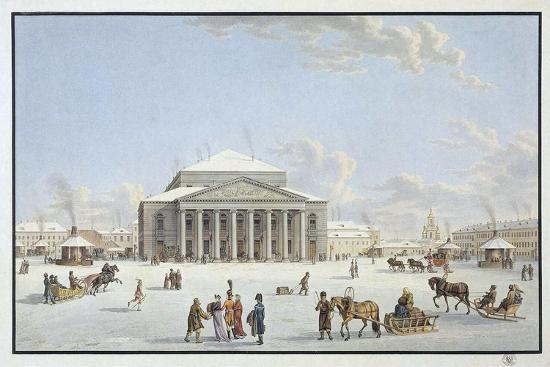 View of the Bolshoi Theatre in St Petersburg, Early 19th Century-Gabriel Ludwig Lory the Elder-Giclee Print