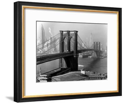 View of the Brooklyn Bridge and the Skyscrapers of Manhattan's Financial District-Andreas Feininger-Framed Premium Photographic Print