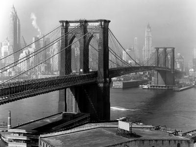 View of the Brooklyn Bridge and the Skyscrapers of Manhattan's Financial District-Andreas Feininger-Photographic Print