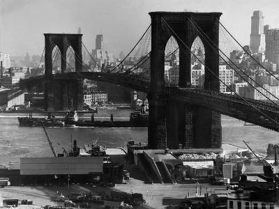 View of the Brooklyn Bridge Looking Toward Brooklyn-Andreas Feininger-Photographic Print