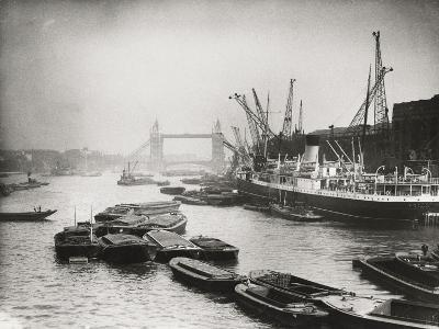 View of the Busy Thames Looking Towards Tower Bridge, London, C1920--Photographic Print