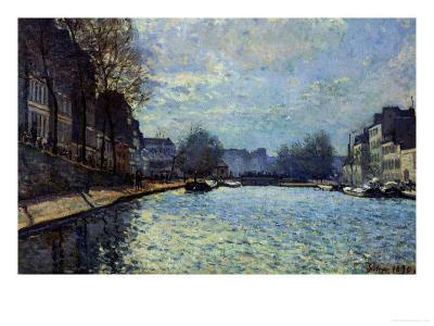 View of the Canal Saint-Martin, Paris, 1870-Alfred Sisley-Giclee Print