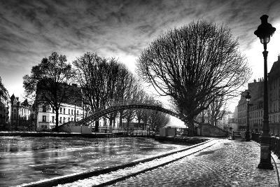 View of the Canal Saint-Martin - Winter -  Paris - France-Philippe Hugonnard-Photographic Print