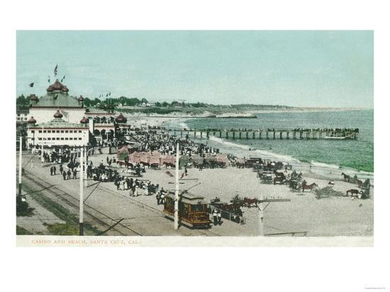 View of the Casino, Beach, and Pier - Santa Cruz, CA-Lantern Press-Art Print