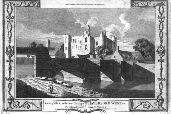 'View of the Castle and Bridge of Haverford West in Pembrokeshire.', late 18th century-Unknown-Giclee Print