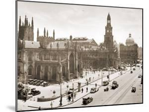 View of the Cathedral and Town Hall, Sydney, Australia. 1929