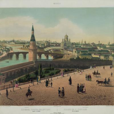 View of the Cathedral of Christ the Saviour and the Moscow Kremlin, Ca 1848-Philippe Benoist-Giclee Print