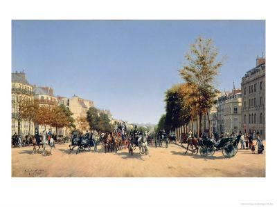 View of the Champs-Elysees from the Place de L'Etoile, 1878-Edmond Georges Grandjean-Giclee Print