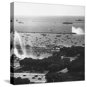 View of the Chicago Harbor, During the Arrival of Queen Elizabeth Ii and Philip