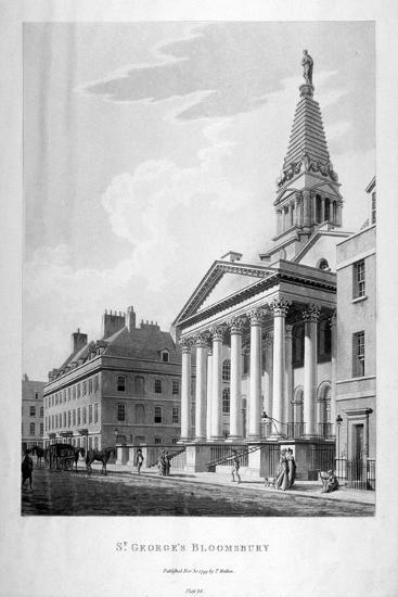 View of the Church of St George, Bloomsbury, London, 1799-Thomas Malton II-Giclee Print