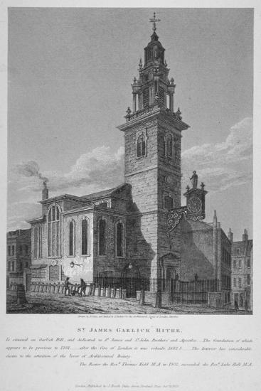 View of the Church of St James Garlickhythe, City of London, 1813-Joseph Skelton-Giclee Print