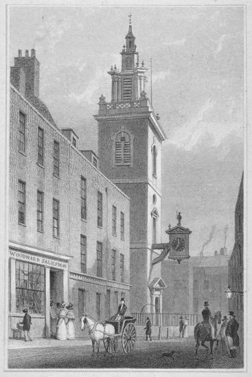 View of the Church of St James Garlickhythe, City of London, 1830-R Acon-Giclee Print