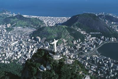 View of the City, Corcovado and Statue of Christ the Redeemer--Photographic Print