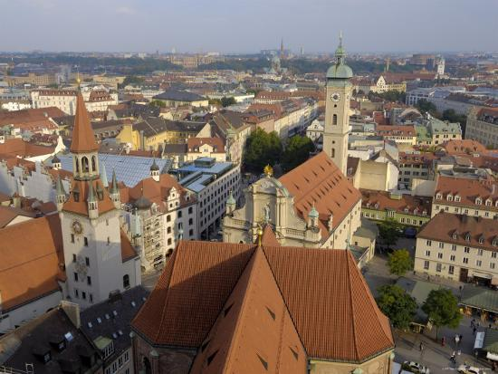 View of the City from the Tower of Peterskirche, Munich, Bavaria, Germany-Gary Cook-Photographic Print